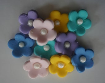 Fondant Flowers, Small Edible Flowers Set of 12, Flower Cake Toppers