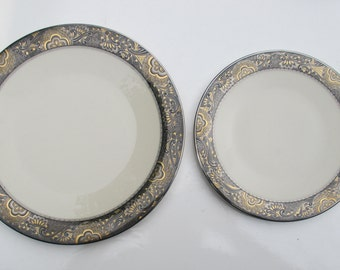 Franciscan China - Nouvelle Ebony Pattern - USA Masterpiece China with Platinum - Salad and Dinner Plate Setting - Shipping Included & Franciscan China Constantine Pattern USA Dinner Plates