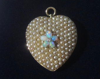 Antique Victorian Puffy Heart Pearl Opal and Diamond Pendant 14K