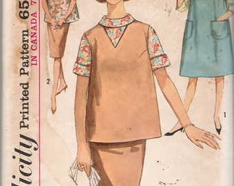 Vintage 60's Simplicity 5179 Maternity Jumper Top Skirt Blouse Sewing Pattern Size 16 Bust 36""