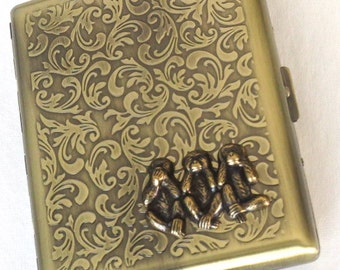 New Brass Monkey Cigarette Case SPeak Hear See No Evil Antiqued Gold Brass Metal Large Double Gothic Victorian Steampunk Vintage Style New