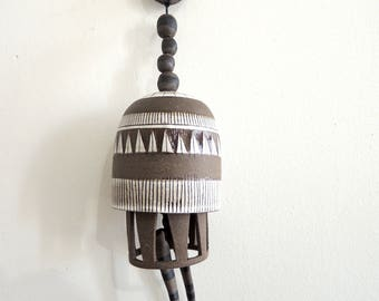 Brown and white ceramic windchime, ceramic bell, wind chime