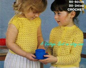Toddler 4ply Jumper and Cardigan for sizes 20 - 24 ins - Marriner 1744 - pdf of Vintage Crochet Patterns -