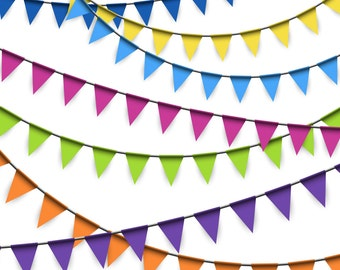 Bunting Clipart, Bunting Flags Clipart, Flag Banner Clipart, Party Clipart, Birthday Clipart, Digital Bunting, Digital Download, PNG EPS