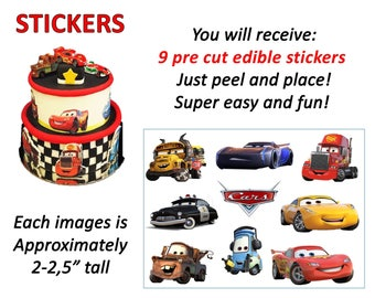 Cars themed edible PRE CUT cake stickers! Characters topper sides of cake decals. Sugar sheet decoration party supplies.