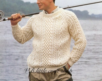 Man's aran sweater knitting pattern. Instant PDF download!