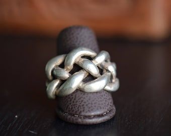 Vintage Chunky Braid 925 Silver Band - Rustic Mens Ring - US Size 8.75 -S264-