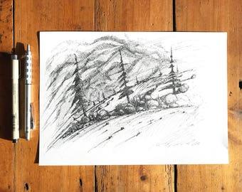 Winter Sun on Straw Field Ink Sketch on A4