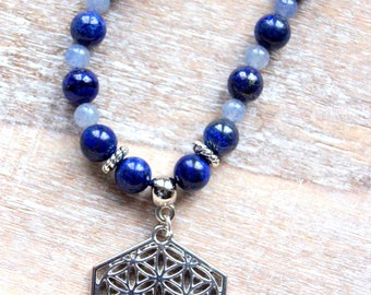 Flower of life and natural gemstones beads necklace