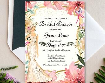 BRIDAL SHOWER INVITATION-Ivory Bride Pink FlowersWatercolor Illustration- DIy Digital Printable Invite- Modern Glam