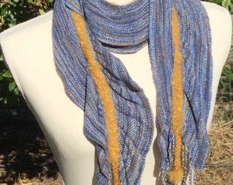 Handwoven Short Scarf - One Of A Kind Hand woven Blue Tan & Gold - Short Skinny Scarf- Hand Woven Rayon and Alpaca Short Ruffle Accent Scarf