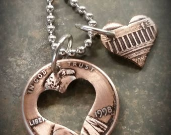 20th Birthday 1998 Penny Heart Necklace 20th Anniversary 20th Birthday Gift Coin Jewelry made from a 1998 Penny +