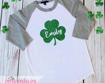Ladies Monogram St Patricks Day Shirt | Ladies Raglan Shirt | Monogrammed Raglan