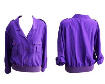 Vintage 80s windbreaker purple anorak oversized jacket   anorak bomber jacket bomber vintage windbreaker