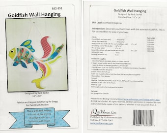 PATTERN ~ INSTRUCTIONS ~ No Sew Goldfish Wall Hanging designed by Barb Sackel ~ 18 x 18 in imagine the color possibilities & get creative