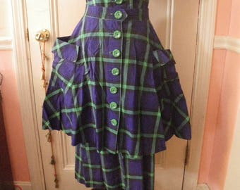 1950s Purple & Green Plaid Cotton Dress with Separate Full Overskirt - Patch Pockets