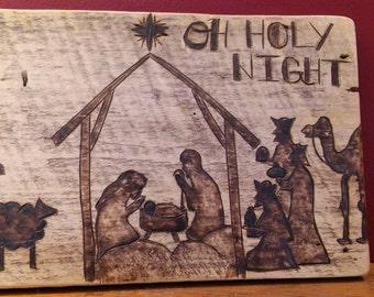 Nativity Scene Barnwood Wall Art