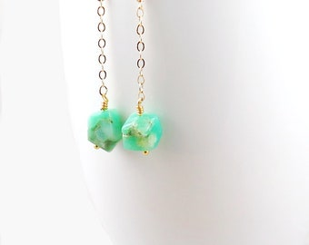 Chrysoprase Earrings, Gold Chain Earrings, Healing Jewelry, Chrysoprase Jewelry, Mint Green Earrings, Gold Filled Drop Earrings
