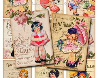 INSTANT DOWNLOAD, Vintage Valentine Girls, Sheet Music Ephemera, Altered Art, Printable aceo atc Digital Collage Sheet