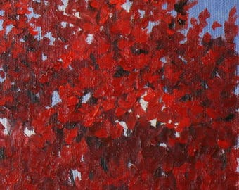 """Abstract tree painting,  red maple, autumn paintings, 5"""" x 7"""""""