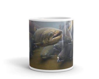 Chinook salmon mug, Salmon gift, Fish mug, Fisherman mug, Fishing gift, Fishing mug, Salmon art, Salmon coffee mug, Salmon fishing mug