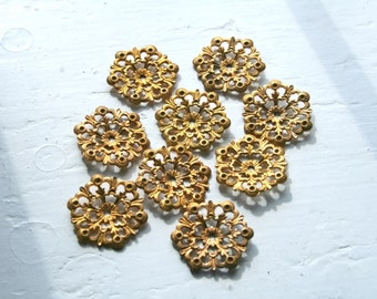 Brass Ornate Flower Petal Jewelry Findings, Package 10