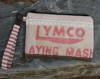 Vintage Feed Sack Clutch | Wristlet | Waxed Canvas | Upcycled | Repurposed | Feedsack Pouch | Grain Sack | Lymco Feed | Chicken Feed