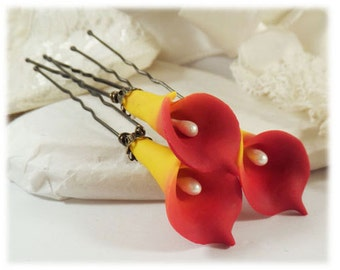 Sunrise Flame Orange Calla Lily Hair Pins - Sunrise Calla Lilies ,Flame Calla Lily Wedding Hair Pins