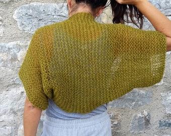 Shrug, Knit shrug, Green shrug, Angora, Loose knit Shrug,Dress cover up