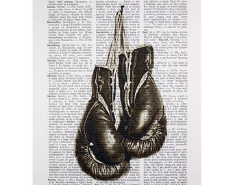 Boxing Gloves Print on a Vintage Dictionary Page