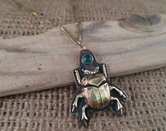 Brass and copper scarab beetle necklace
