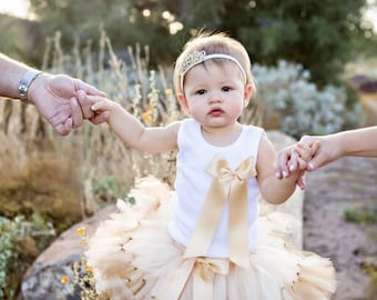 Gold Birthday Outfit | Birthday Outfits | 1st Birthday Outfit | First Birthday Outfit | Cake Smash Outfits | Tutu Dress | Birthday Tutu
