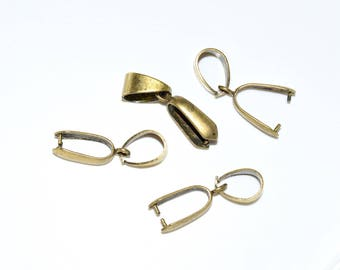 Bail attached to beads hole Metal pinch (12mm) - Antique Gold - BELM15AOR170