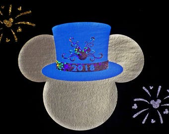 HTV Iron-On - New Years Eve Mickey Top Hat Ears