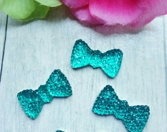 SET OF 4 LARGE CELADON BLUE RHINESTONE BOW CABOCHONS