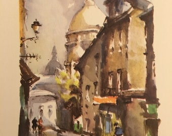 Vintage Watercolor Print of a Parisian Street Scene, c1950's.