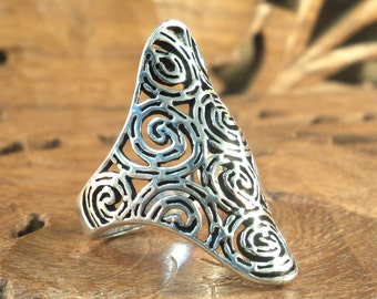 Sterling Ring Stunning Highly Textured Sterling Silver Ring, size 7.5