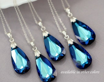 Blue Crystal Necklace, Swarovski Bermuda Blue Crystal Necklace, Mother of the Bride Gift, Mother of the Groom GIft, Bridesmaid Necklace