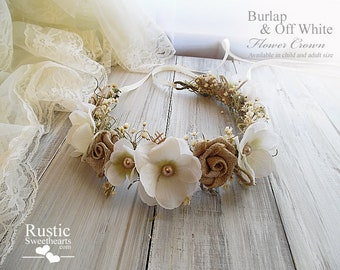 Burlap & Off White ~ Wedding Flower Crown ~ Bridal Flower Crown ~ Bridal Halo ~ Bride, Bridesmaid, Flowergirl ~ Child and Adult Size.