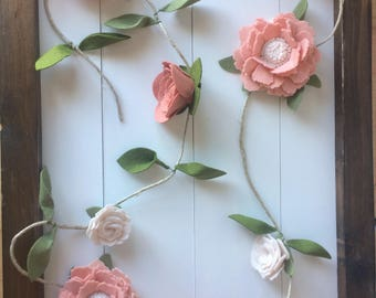 Felt Flower Garland, Newborn Photo Prop, 1st Birthday Garland, Felt Flower Vine, Baby Photo Prop, Floral Garland, Floral Nursery, Photo Prop