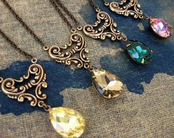 Swarovski Crystal Sweetheart Necklace Antique Brass