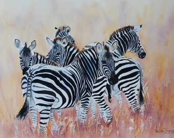 Zebras, PRINT Watercolour painting. Wall Art, Home Decor, Zebra painting, Stripes. FREE Shipping