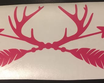 Horns with Arrow Decal, Car Decal, Truck Decal, Tumbler Decal, YETI, RTIC, Colster Decal, Decal Gifts