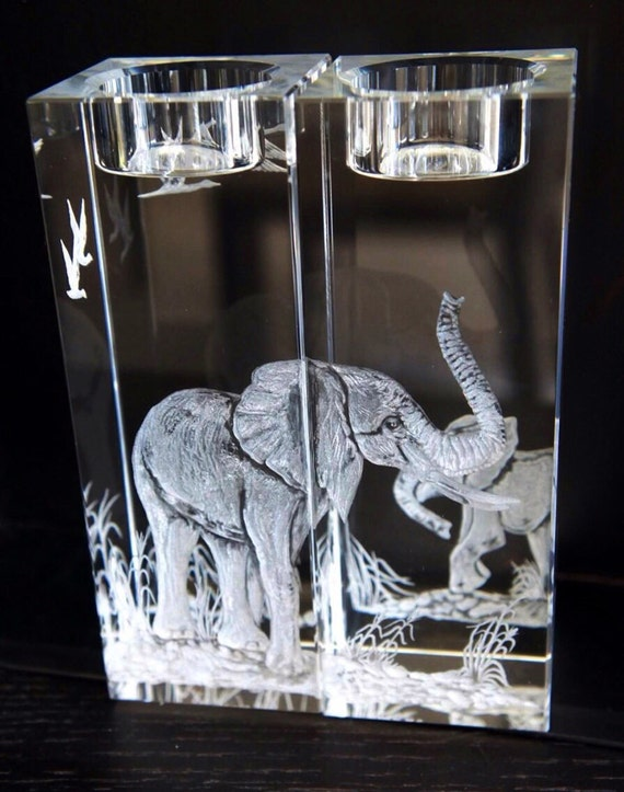 Pair of Hand engraved Crystal candlesticks elephants, engraved crystal, wedding gifts, office decor, home decor, etched candlesticks