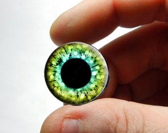 Blythe Eye Chips 14mm Eyes - Hazel Blue Glitter Design Human Doll Taxidermy Glass Eye Cabochons for Steampunk Jewelry - Pair or Single