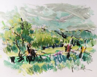 Petite peinture de paysage, Berkshire county printemps, champs pays et l'herbe verte avec des collines, Russ Potak