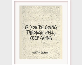 """Printable Motivational Quote: If you're going through hell keep going"""" Printable Quotes, Motivational Print, Winston Churchill, Wall Decor"""