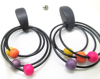 Vintage Four Hooped Wooden Beaded Pierced Earrings