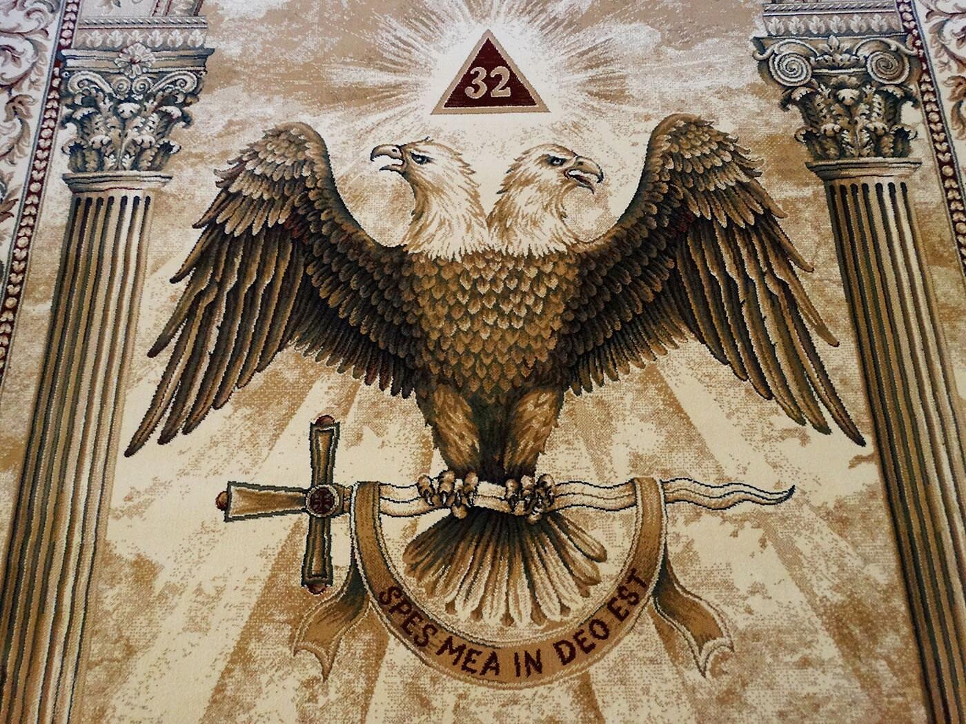 Custom Scottish Rite Masonic 32nd Degree Freemason Rug Cap Pin