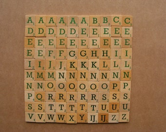 100 metallic green Scrabble letters, bulk scrabble tiles, wooden game tiles